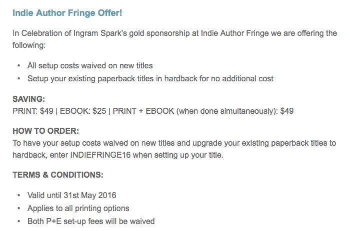 Ingram Spark Indie Author Fringe Offer