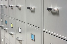 photo of old-fashioned metal filing cabinets