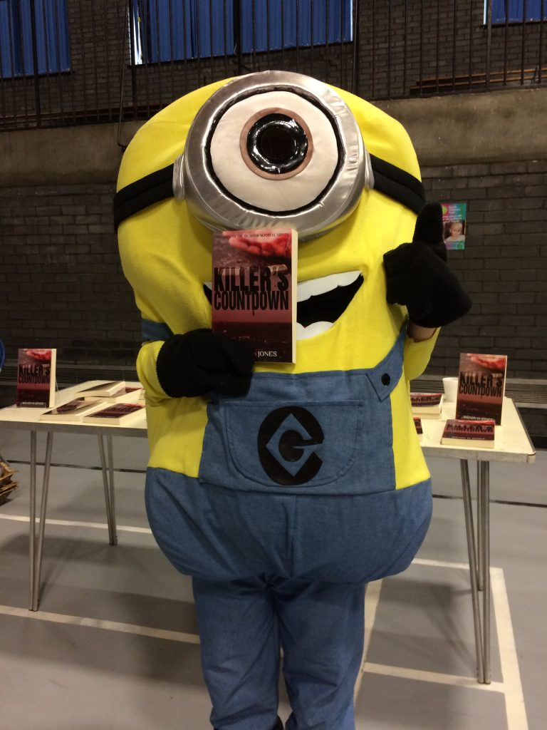Minion holding Wendy H Jones novel