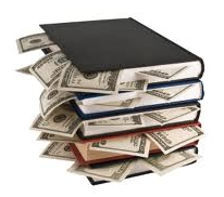 image of books with dollar bills sticking out of them