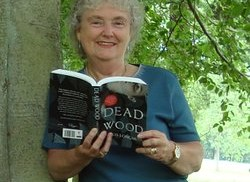 Chris Longmuir with one of her novels