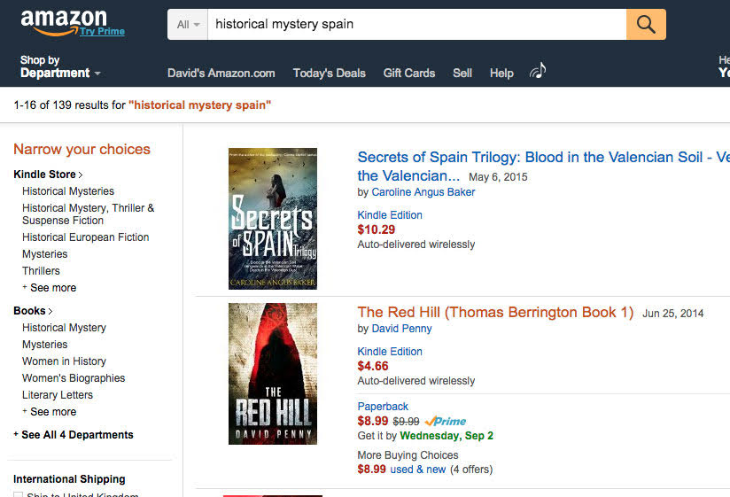 screenshot of Amazon search