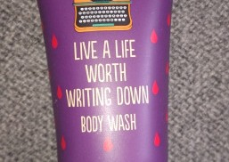 """shower gel tube with caption """"Live a life worth writing down"""""""