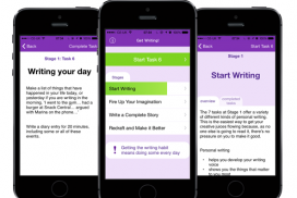 Screenshots of Jenny Alexander's Get Writing App