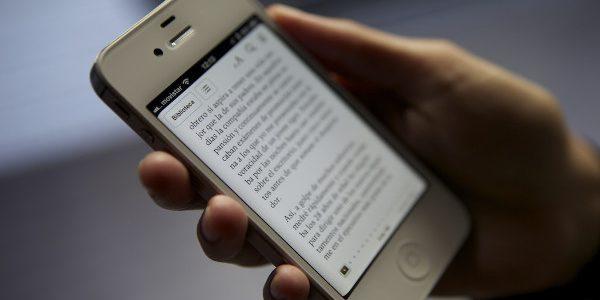 smartphone with ebook app open