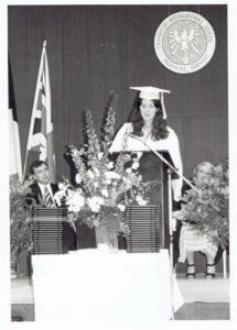Debbie Young at graduation ceremony