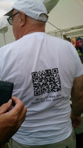 back of t-shirt showing QR code