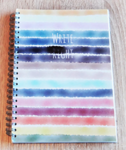 Traditional Write Right Notebook with grids and blank spaces, perfect for notes and doodles. Yen Ooi
