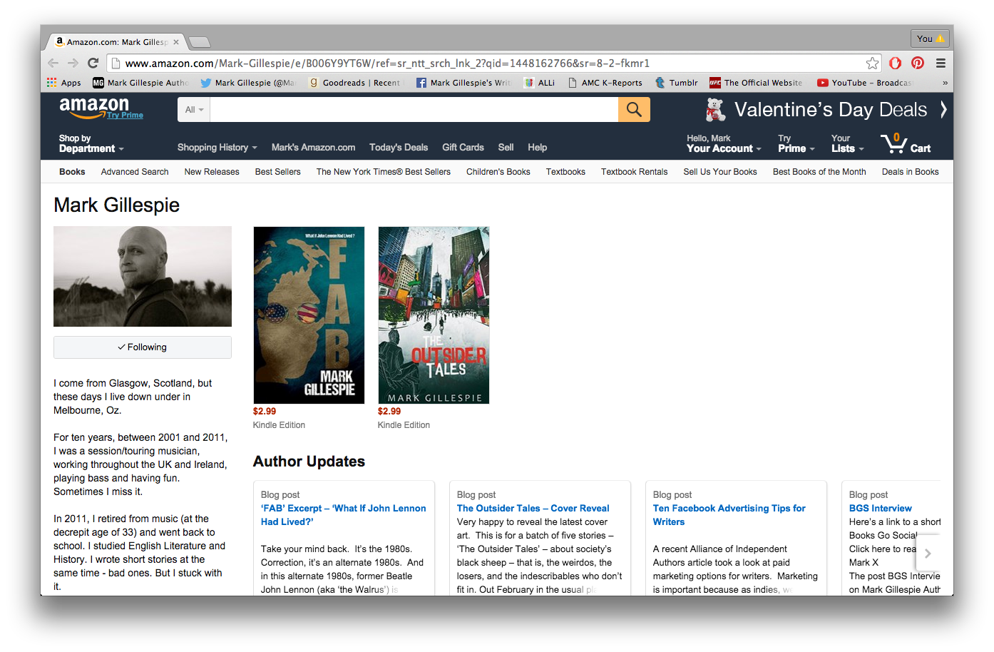Screenshot Of Mark Gillespie's Own Amazon Author Page