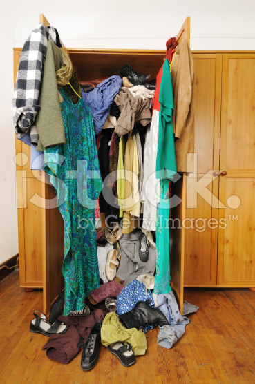 photo of untidy wardrobe