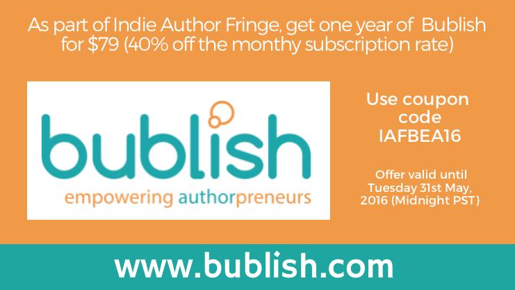 Bublish sponsor offer for Indie Author Fringe
