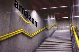 Stairway with Amazon logo