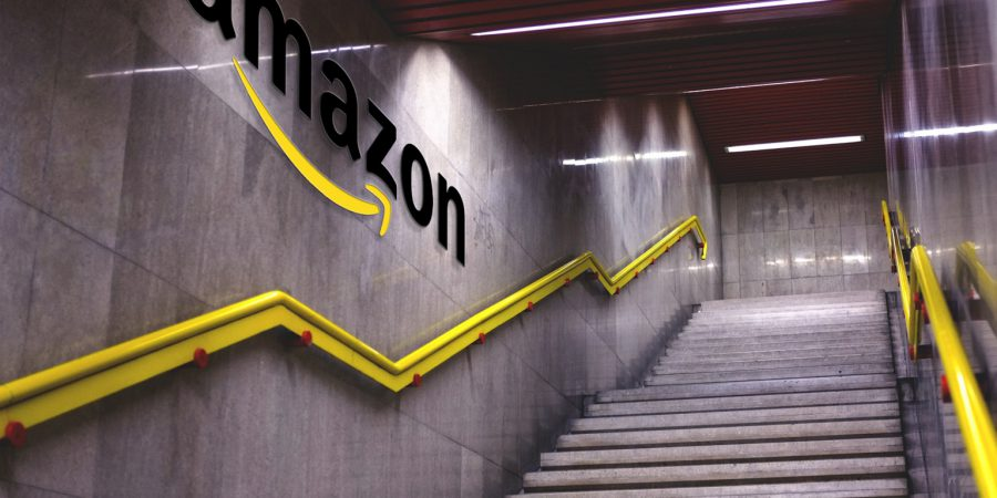 Stairway with Amazon logo