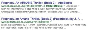 Google search results listing details of Joanna Penn's book