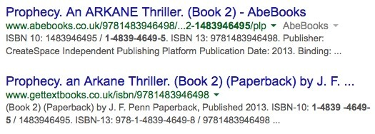Isbns the complete lowdown for indie authors google search results listing details of joanna penns book fandeluxe Image collections