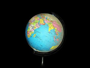 Photo of a globe against a black background