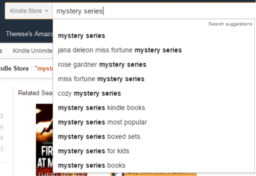 screenshot showing mystery series appearing in lots of search strings