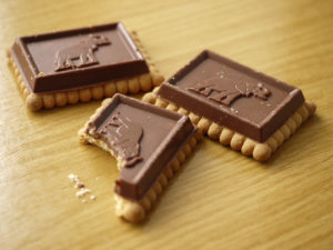 Photo of biscuits with chocolate elephant topping