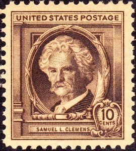 10c stamp commemorating Mark Twain