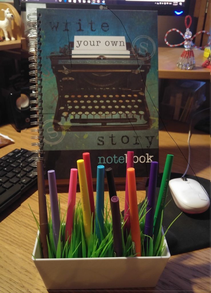 Picture of notebook with fun caption and a cheerful pot of colourful felt tip pens.