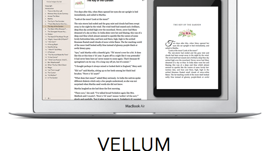 home screen of vellum