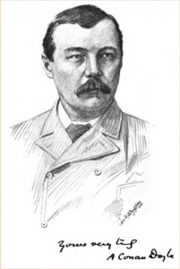 Portrait of Sir Arthur Conan Doyle https://www.arthur-conan-doyle.com/index.php?title=File:Lippincott-1894-my-first-book-juvenilia-01.jpg, Public Domain, https://commons.wikimedia.org/w/index.php?curid=50718919