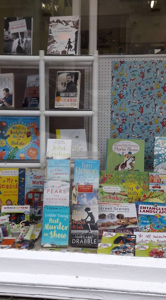image of bookstore window with Debbie Young's book at the front