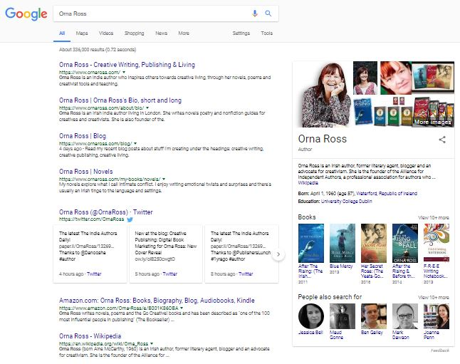 knowledge panel in a google search