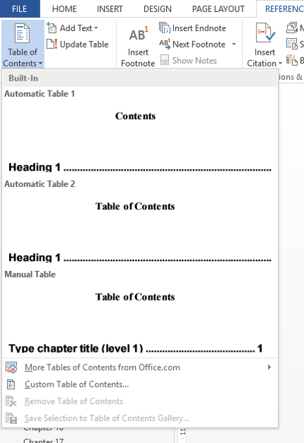 screenshot of headings styles