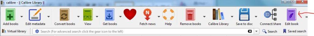 Calibre toolbar