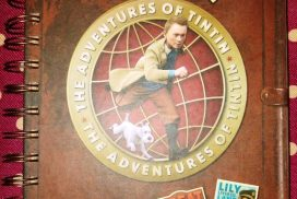 cover of TinTin noteboook showing travel destinations