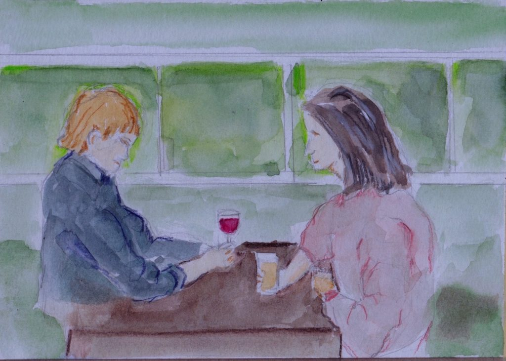 painting of two people talking over drinks
