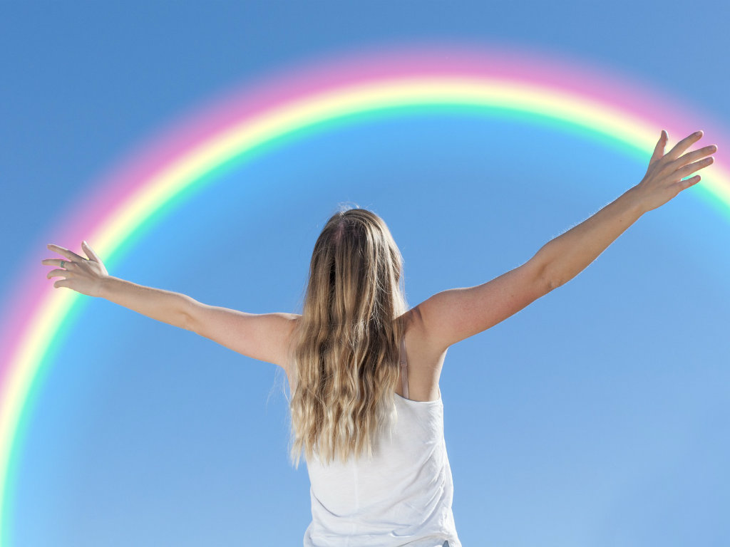 Photo Of Girl With Rainbow