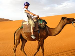 photo of author riding a camel
