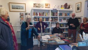 Picture of Celia reading at their launch