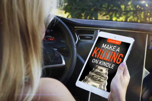 Photo of girl reading Make a Killing on Kindle in a car