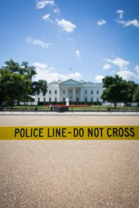 Photo of Police Line Do Not Cross tape outside the White House
