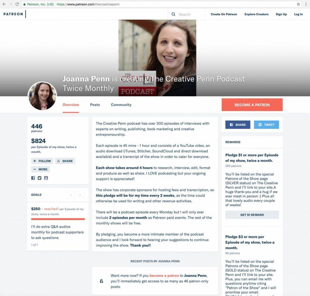 screenshot of Joanna Penn's Patreon page