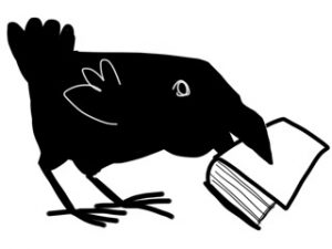 graphic of bird with book in its beak
