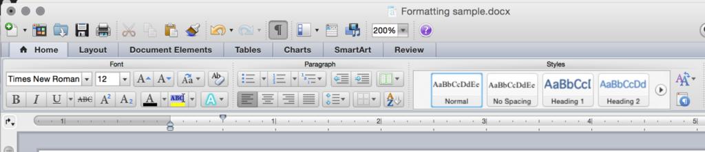 screenshot of editing bar