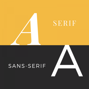 graphic of a capital A in each of serif and sans serif to show the difference