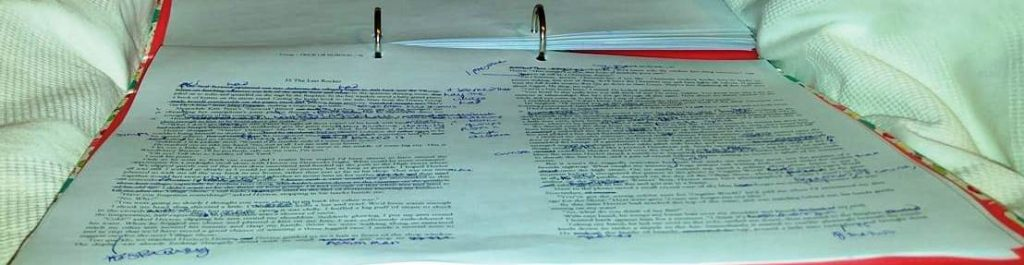 print-out of a manuscript page showing lots of edits in pen