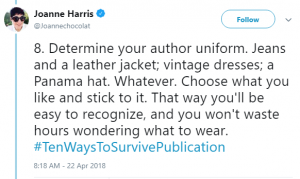 screenshot of Joanne Harriss tweet about author uniforms