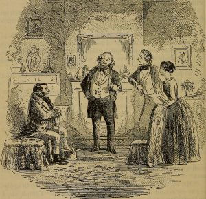 Drawing of Skimpole and friends in a scene from Dickens' Bleak House