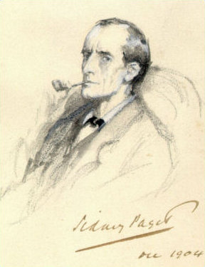 drawing of Sherlock Holmes by Sidney Paget - his mouth is closed so no speech tag needed here!