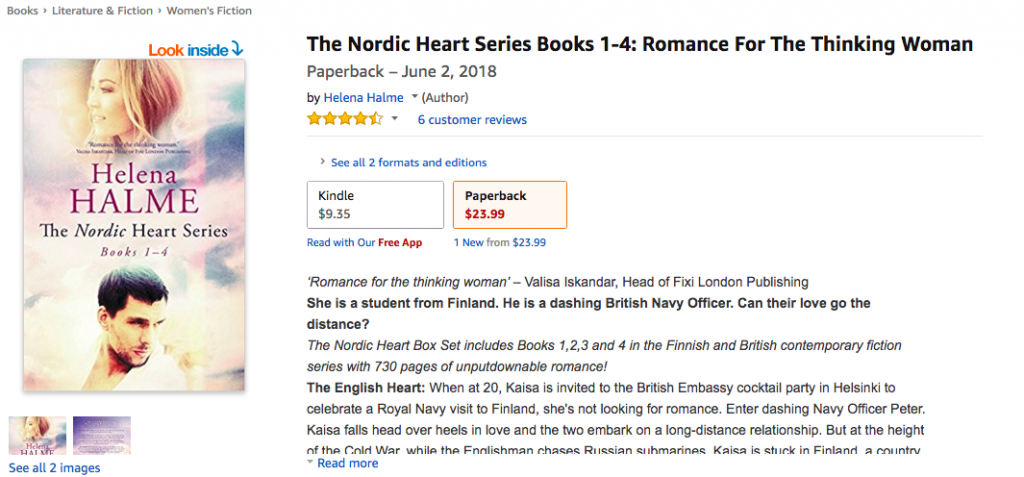 screenshot of paperback box set sales page on Amazon
