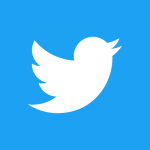 square logo white Twitter bird on blue