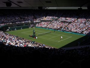 photo of Wimbledon centre court to imply similarity of author coaches and tennis coaches