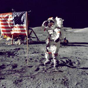 image of man landing on moon