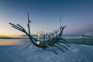 image of Viking longboat on ice